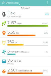 Screenshot z Fitbit aplikace pro Android