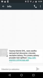 Celá SMS údajně od DHL. Pozor na ni