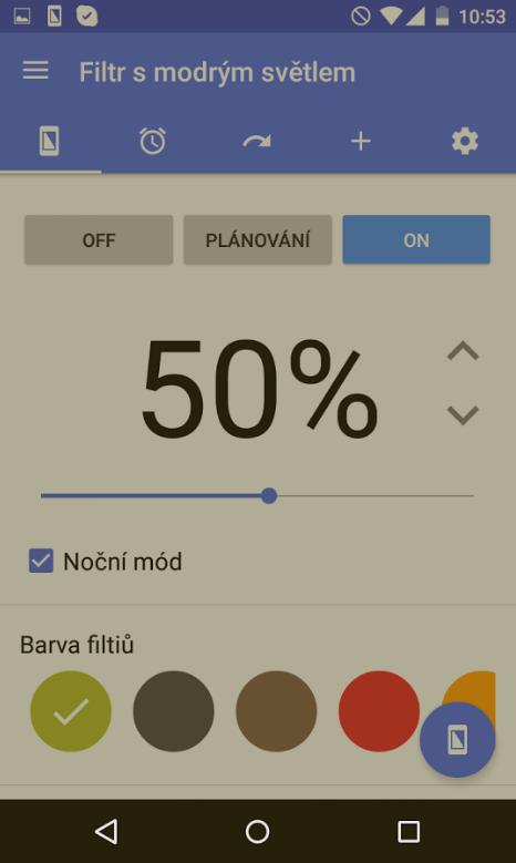 Aplikace Filtr s modrým světlem pro Android