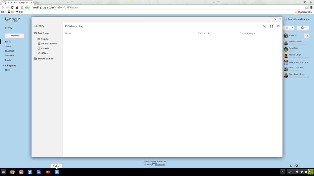 Správce souborů na Chromebooku.