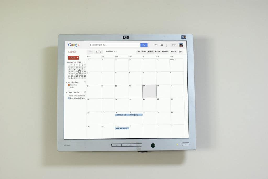 Nástěnný Google kalendář
