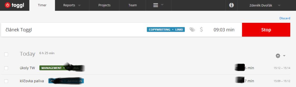 Nové rozhraní Toggl.com.