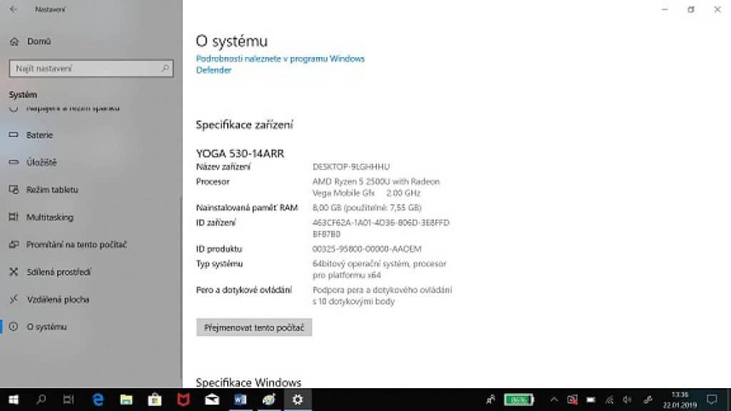 Lenovo Yoga 530 - 14ARR s procesorem AMD Ryzen 5